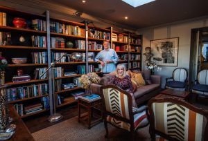 Pam Williams and Warren Scott in their library