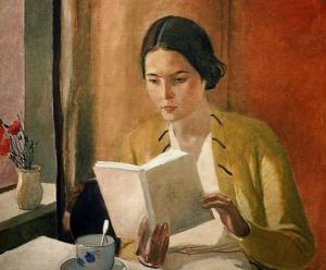 Girl Reading Art Bookshop Bookstore painting literature classics